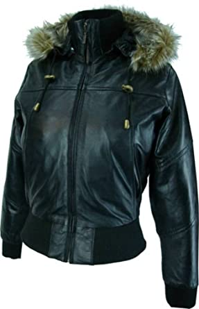 Womens black hooded leather bomber jacket