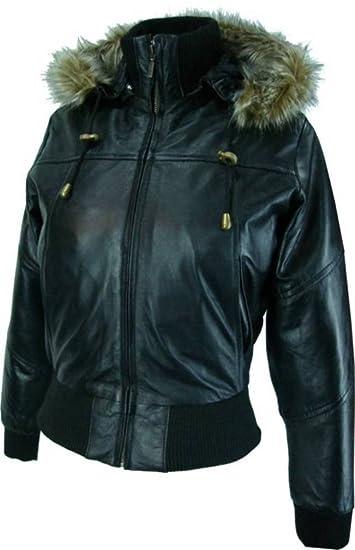 caf464f33b3 Womens Hooded bomber jacket - Real Leather Jacket- Black   M1   Amazon.co.uk  Clothing