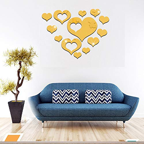 HOODDEAL Acrylic Heart-Shaped Mirror Wall Stickers Plastic Removable Heart Art Decor Wall Poster Living Room Home Decoration,Multi-Size (15PCS, Gold) -
