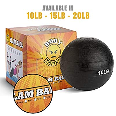 BODY IGNITE Weighted Slam Ball for Exercise, Black 10 Ib - Heavy, Rubber Medicine Ball for Strength Training and Cardio - No Bounce, Dead Weight Slam Ball for at-Home Gym Equipment and Accessories