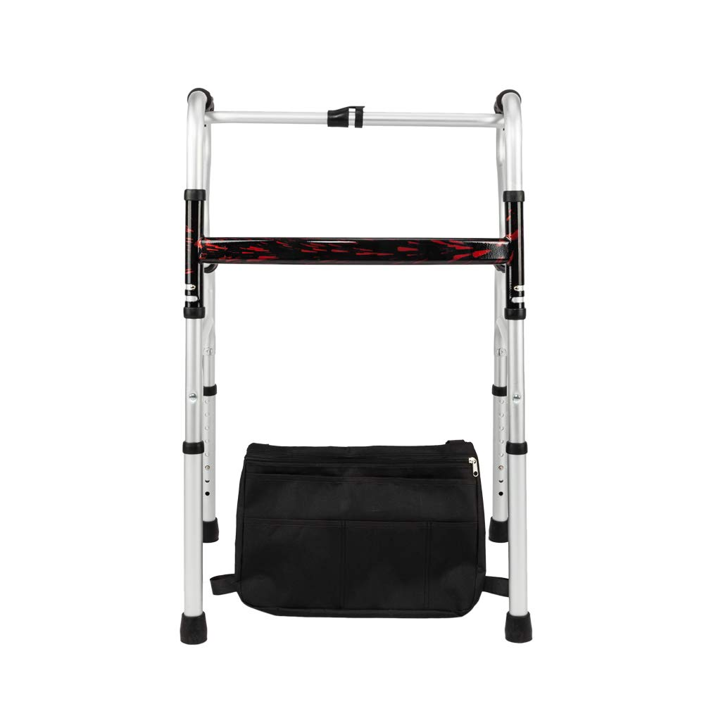 Mefeir Special Folding Standard Walker w/Storage Bag, Mobility Aid for Adult Patient, Senior, Elderly&Handicap, Lightweight, Portable, Adjustable Height, Mobility Aid, Ultra Convenient