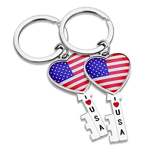 2x Heart Key Shape USA US American Flag Patriotic Keychain Ring - Set of - Fave Shapes