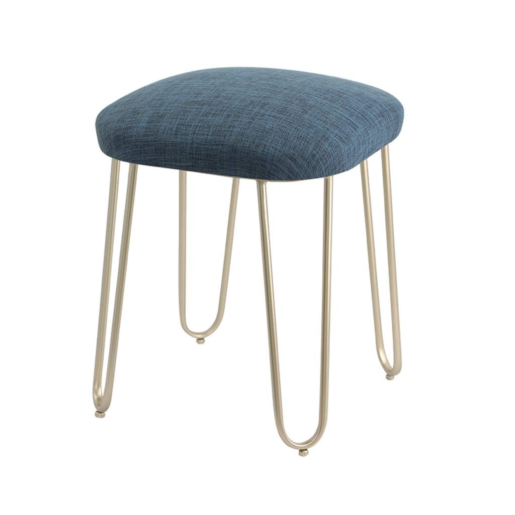 H Iron Stool Makeup Stool Dressing Table Stool Cafe Living Room Bedroom Bedside Stool Restaurant Dining Table Chair Bar Stool (color   D)