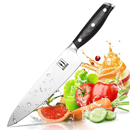 Chef Knife, Allezola Professional 7.5 Inch Chef's Knife, Kitchen Knife German High Carbon Stainless Steel Knife with Ergonomic Handle, for Home Kitchen & Restaurant