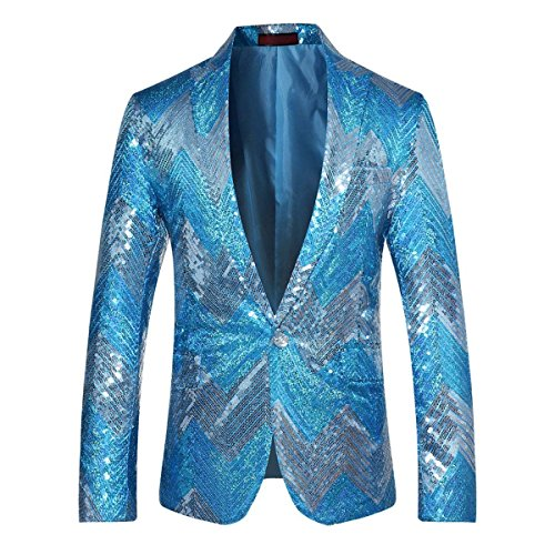 Mens Blazer Sequin Dance Peaked Lapel One Button Tuxedo Dress Jacket Prom Party (Large/40R, Blue) ()