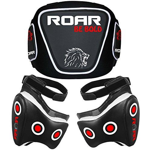 (Roar Boxing Belly & MMA Thigh Pad Set UFC Training Muay Thai Leg Protector with Rib Shield (Thigh Pad & Belly Set, Standard))