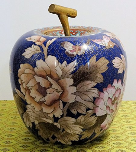 Cloisonne Blue and White Apple Vase, About 8 Inches Tall X 5 in Wide, One Only! Chinese Decorative Famille Rose Porcelain