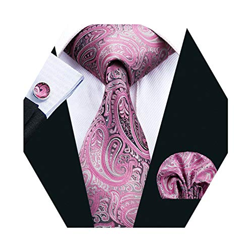 (Barry.Wang Men Tie Set Paisley Silk Necktie Pocket Square Cufflinks Extra Long Tie)