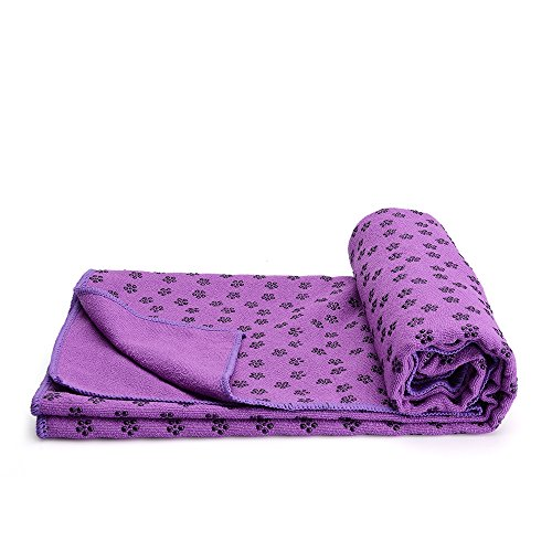 """Mansov Yoga Mat Towel 72''x24"""" Dark Purple Long Perfect Size Super Premium Sweat Absorbent Bikram Hot Yoga Towels Ideal for Hot Yoga, Fitness, Exercise With Carrying Mesh Bag Machine Washable"""