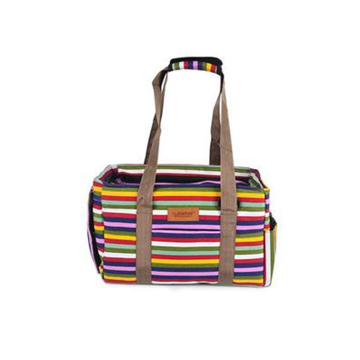 Rainbow Stripes Guyuexuan Pet Carrier, Airline Approved Soft Animal Carrier, Portable Soft Air Travel Bag, Best for Small and Medium Dogs and Cats Pet Travel Essentials (color   Rainbow Stripes)