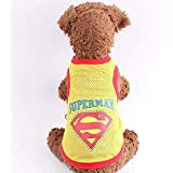 Summer Style Cute Pet Dog Superman Clothes Costumes Suit Puppy Jumpsuit Yellow Apparel