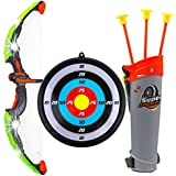 Toysery Kids Toy Bow & Arrow Archery Set with Arrow Holder with Target Stand - LED Light Up Function - Hunting Series Toy for Boys And Girls,