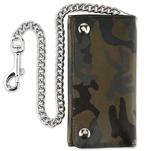 RFID Blocking Men's Tri-fold Vintage Long Style Cowhide Top Grain Leather Steel Chain card holder Wallet,Snap closure, Made In USA,ocf339,Camouflage