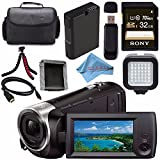 Sony HDR-CX440 HDR-CX440/B HD Handycam with 8GB Internal Memory + Rechargable Li-Ion Battery + Sony 32GB SDHC Card + Case + Tripod + HDMI Cable + Memory Card Wallet + Card Reader + Fibercloth Bundle