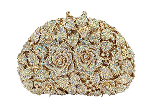 Yilongsheng Women's Fully Sequined Crystal Rhinestones Flowers Wedding Evening Party Handbags Clutch Purses(AB color) by YILONGSHENG
