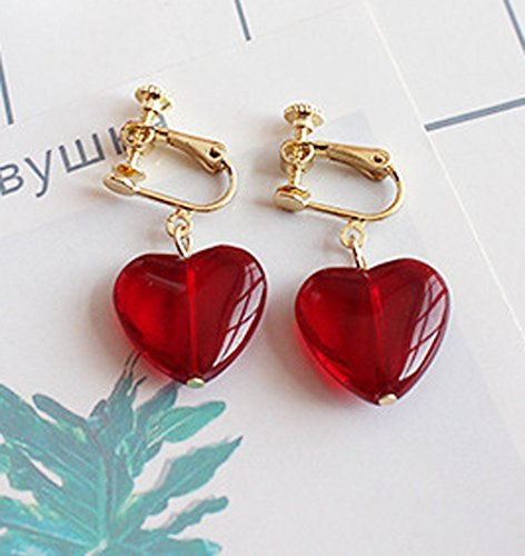 Screw Back Clip on Earring for Non Piercing Red Heart Resin Fashion Jewelry for Girl
