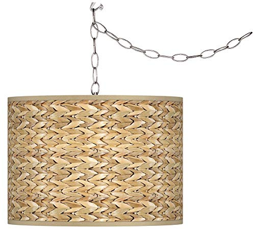 Swag Style Seagrass Print Shade Plug-in Chandelier ()