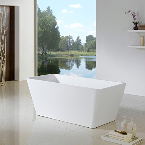 MAYKKE Burbank 66 Inches Modern Rectangle Acrylic Bathtub Freestanding White Tub in Bathroom, 14-3/16 Inches Water Depth, XDA1436001 (66 Freestanding Tub compare prices)