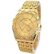 Teresamoon watch , Luxury Metal Stainless steel Quartz Wrist Watch (Gold)