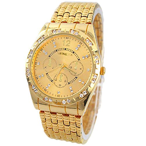 Teresamoon watch , Luxury Metal Stainless steel Quartz Wrist Watch (Gold)