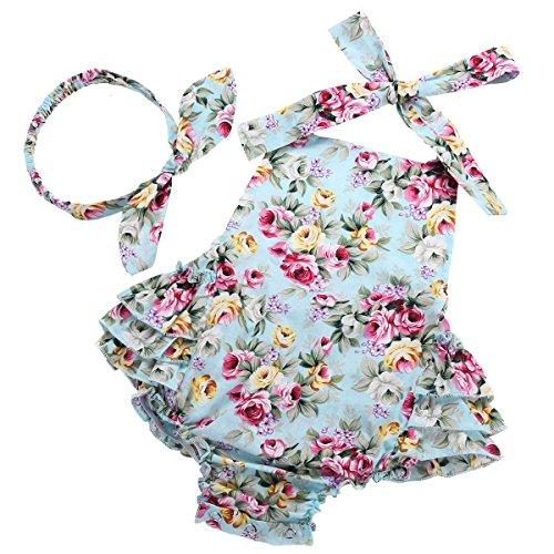 Fubin Baby Girl's Floral Ruffles Romper Summer