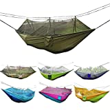 #9: Camping Hammock, Rusee Mosquito Net Outdoor Hammock Travel Bed Lightweight Parachute Fabric Double Hammock For Indoor, Camping, Hiking, Backpacking, Backyard