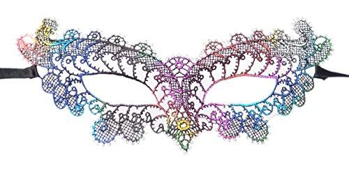 Coolwife Women's Costume Party Lace Masquerade Mask Venetian Halloween Eye Mask (Venetian Rainbow (Rainbow Mask)