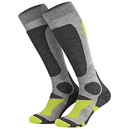 Piarini 2 Paar Ski und Snowboard Socken – Kniestrümpfe atmungsaktiv mit Spezialpolsterung Unisex für Damen Herren und Kinder