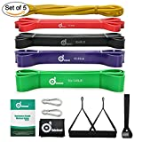 Odoland 5 Packs Pull Up Assist Bands, Pull Up Straps, Resistance Bands with Door Anchor and Handles, Stretch Mobility, Powerlifting and Extra Durable Exercise Bands with eGuide For Sale