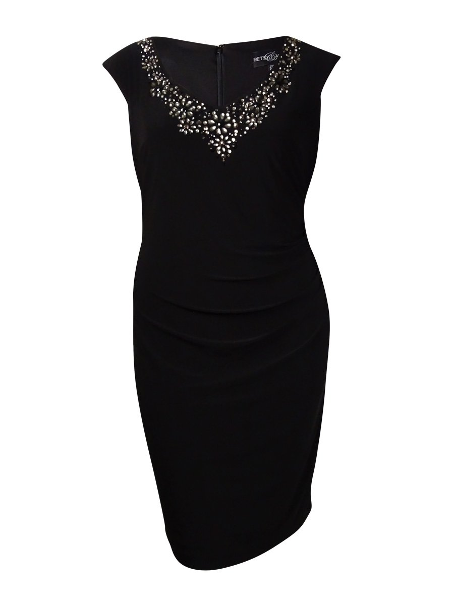 Betsy & Adam Women's Beaded V-Neck Ruched Jersey Dress (16W, Black)