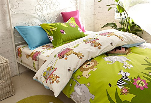 Cliab Elephant, Lion, Monkey, Giraffe, Zebra with Little Train Animal Theme Bedding Twin(Size Optional) Sheets Jungle Duvet Cover Set 100% Cotton 5 Pieces by Cliab