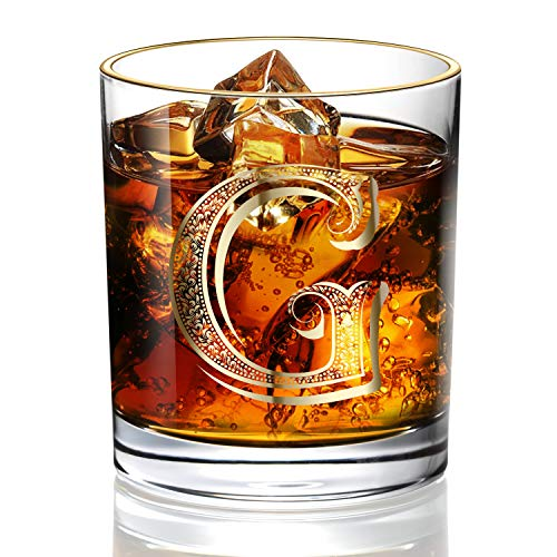G Monogram Wedding Whiskey Glass for Men/Dad/Son, Vintage Unfading 24K Gold Hand Crafted Old Fashioned Whiskey Glasses, Perfect for Gift and Home Use - 10 oz Bourbon Scotch, Party Decorations