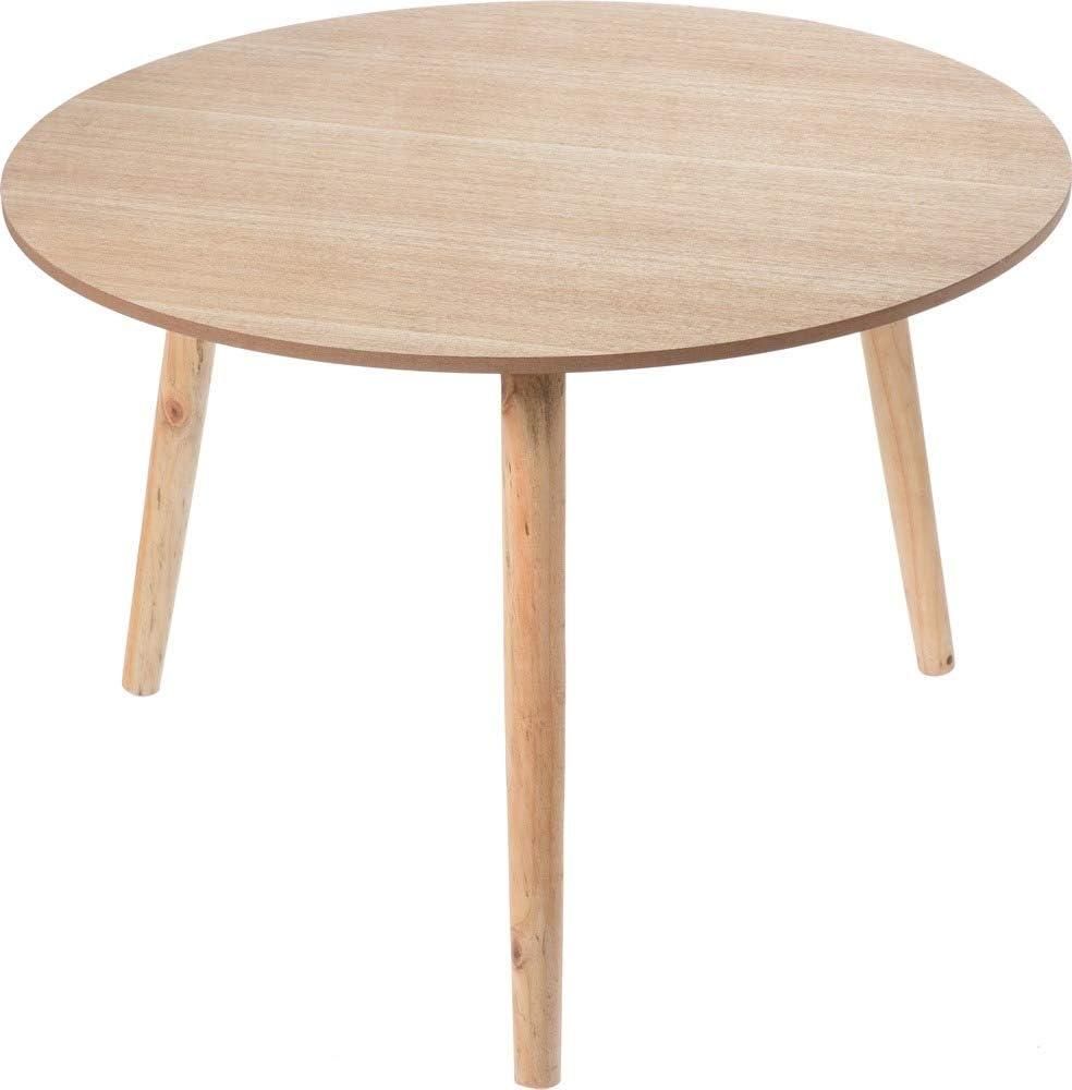 eloutletdelregalo Home/&Styling Tavolino di Servizio Stile Classico 3 Gambe in Legno di Betulla Tavolo da Salotto Arredo Casa Piano in MDF Colore Naturale