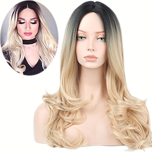 YOPO Long Blonde Ombre Wig Middle Part Curly Wigs Dark Roots Fashion Heat Resistant Synthetic Wavy Hair Full Wig No Bangs for Women - Natural Pretty Looking and Soft Touch (26
