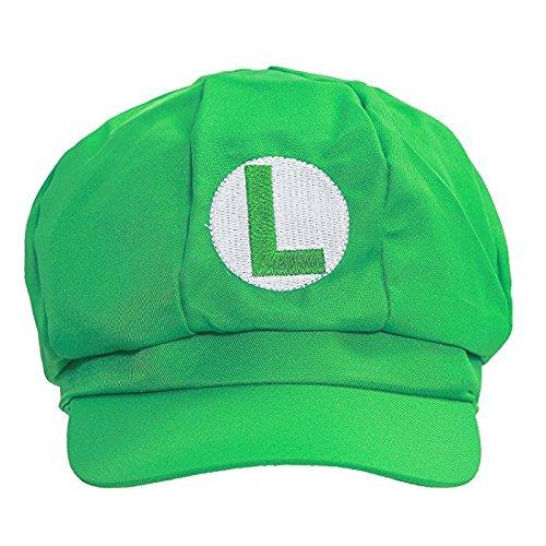 Huafuncos Super Mario Bros Hat Luigi Embroidered Anime Cosplay Caps Accessories Green