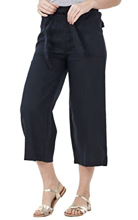58b7254c1e8932 Ex Famous Store Ladies Cropped Summer Elasticated Crop 3/4 Pants Holiday  Linen Trousers Black
