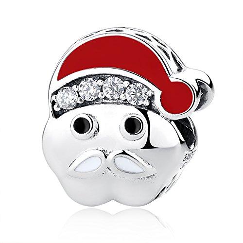 (BAMOER 925 Sterling Silver Santa Charm Christmas Theme Beads for Bracelets for Women Girls)
