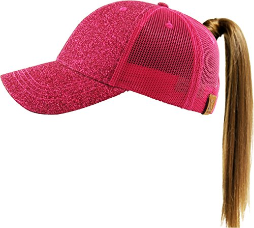KBETHOS PONY-006M HPK Glitter Ponytail Messy High Bun Headwear Adjustable Cotton Trucker Mesh Hat Baseball ()