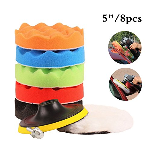 "Cxtiy Car Polishing Waxing Buffing Pads Kits 8PCS, Polishing pads Sets 5""/6""/7"" With Sponge & Woolen + M14 Drill Adapter Kit For Car Polisher (5"")"