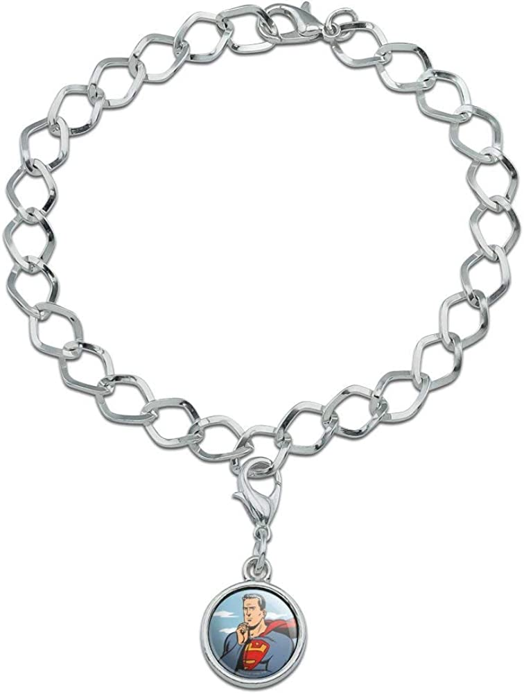 GRAPHICS /& MORE Superman Thinking Silver Plated Bracelet with Antiqued Charm