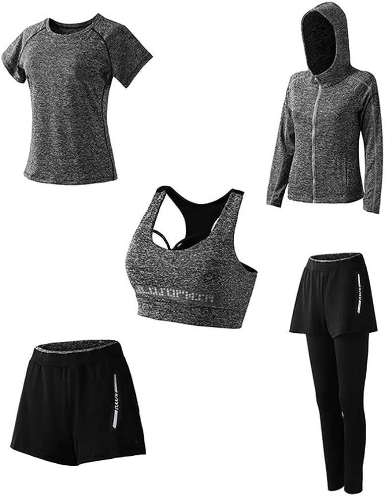 Morbido e Traspirante Confortevole T-Shirt 5set Suit per Sport Yoga Ginnastica Sport Include Manica Lunga e Corta Abbigliamento Sportivo da Donna Pantaloni Reggiseno