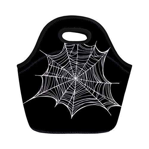 Semtomn Neoprene Lunch Tote Bag Abstract Spiderweb Trap for Halloween Line Drawing Mascara Gothic Reusable Cooler Bags Insulated Thermal Picnic Handbag for Travel,School,Outdoors,Work -