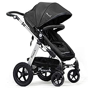 POUCH-2-in-1-Baby-Toddler-PRAM-Stroller-Jogger-Aluminium-with-Bassinet-Black