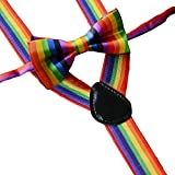 WaiiMak Kids Girls Boys Rainbow Multicolor Braces Suspenders and Rainbow Bow Tie Set (B)