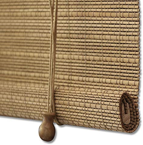 ZY Blinds Bamboo Window Blinds, Light Filtering Roll Up Blinds with Valance, 29 W x 36 L, Pattern 6
