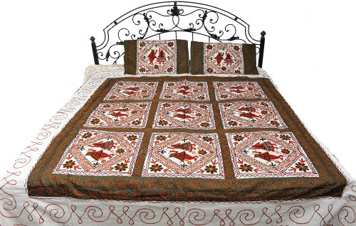Ivory Gujarati Bedspread with Embroidered Dandiya Raas Dance - Pure Cotton with Pillow Cases by Exotic India