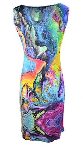 Vestido sin mangas con estampados multicolor impresos
