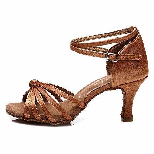 YFF Satin/PU Women Latin dancing shoes Ballroom dancing shoes heeled 7CM Brown 7CM 1w0G7o