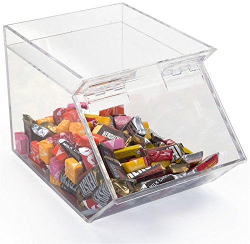 Displays2go Acrylic Stackable Candy Bin with Magnetic Hinged Door for Easy Serving, 1-Gallon, Clear