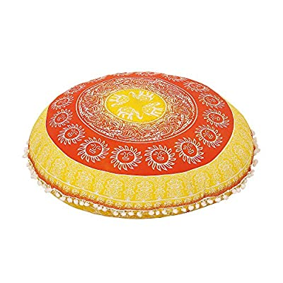 "32"" Yellow Pillow Comfortable Mandala Floor Pillows Round Bohemian Cushion Cover Ottoman Pouf Cover Mandala Floor"
